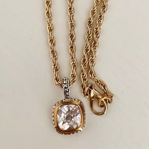 Vintage Rope Chain and Cushion Pendant Necklace